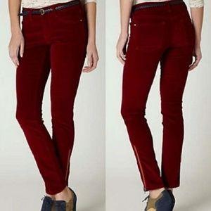 Pilcro Anthro Red Stet Slim Ankle Zipper Cords